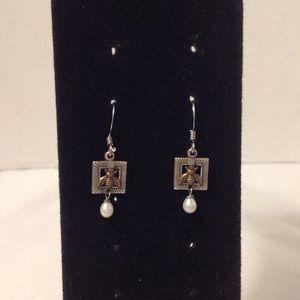 Silver Tone Bee Pearl Dangle Earrings